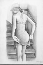 Drawing of Melissa by the Stairs (Pencil) 2019